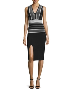 Rvn - Sleeveless V-Neck Sheath Dress