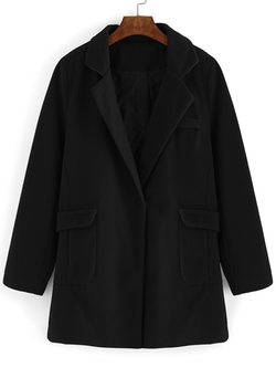Romwe - Lapel Pockets Long Black Coat