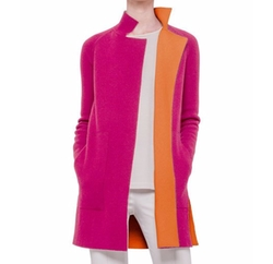 Akris  - Reversible Long-Sleeve Cashmere Colorblock Coat
