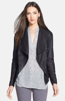 Vince  - Drape Neck Leather Jacket