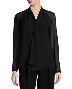 Lafayette 148 New York	 - Louise Tie-Neck Silk Blouse