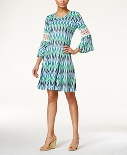 NY Collection - Petite Bell-Sleeve Ikat-Print Dress