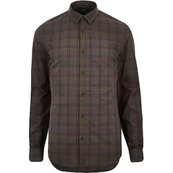 River Island - Brown Check Poplin Slim Shirt