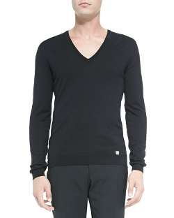 Versace Collection - Perforated Sleeve V-Neck Sweater