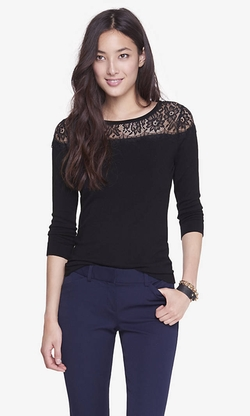 Express - Lace Yoke Bateau Sweater