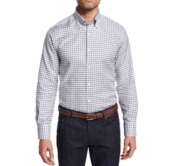 Neiman Marcus - Dashed-Check Long-Sleeve Sport Shirt