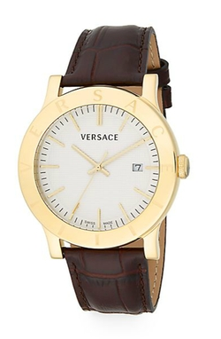 Versace - Acron Engraved Goldtone Stainless Steel Leather Watch