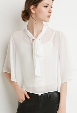 Forever 21 - Self-Tie Neck Cropped Blouse