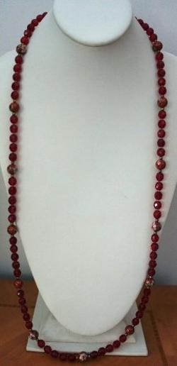 Silk Road Fashion Jewelry  - Czech Facted Glass Bead with Red Cloisonne Beads