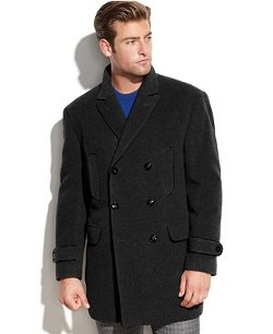 Calvin Klein  - Solid Double-Breasted Peacoat