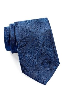 Isaac Mizrahi  - Navy Solid Paisley Silk Tie