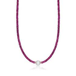 Ross-Simons - Pink Tourmaline and Cultured Pearl Necklace