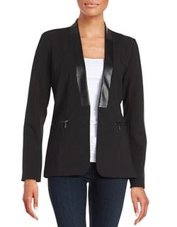 Calvin Klein - Faux Leather-Trimmed Blazer