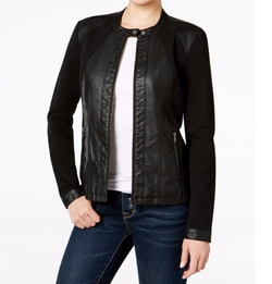 Style & Co. - Mixed-Media Faux-Leather Jacket