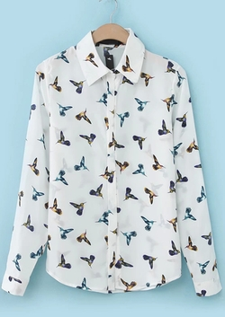 Romwe - Birds Print Loose Blouse