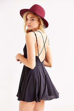 Sparkle & Fade  - Strappy Chiffon Skater Dress