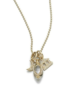 Temple St. Clair  - Classic Rock Crystal, Diamond & Yellow Gold Triple Charm Necklace