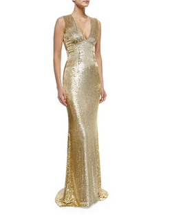Pamella Roland - Sleeveless V-Neck Beaded Gown