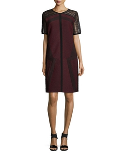 J. Mendel - Lace-Sleeve Combo Shift Dress