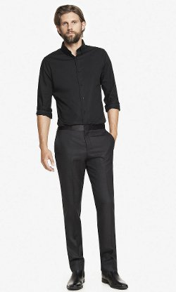 Express - Wool Blend Textured Tuxedo Pants