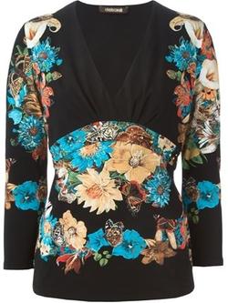 Roberto Cavalli - Floral Print V-Neck Long Sleeve T-Shirt