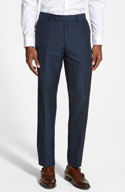 John Varvatos Star USA - Flat Front Linen Blend Pants