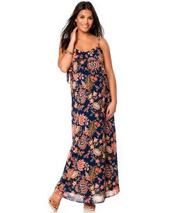 Motherhood  - Maternity Sleeveless Floral-Print Ruffle Maxi Dress
