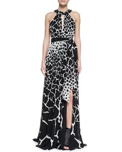 Roberto Cavalli   - Halter-Neck Giraffe-Print Gown