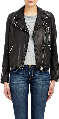 Barneys New York - Leather Quilted-Yoke Moto Jacket