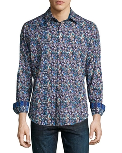 Robert Graham  - Nessie Printed Long-Sleeve Sport Shirt