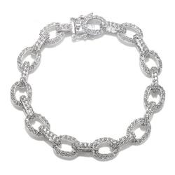 Cheline - White CZ Oval Link Bracelet