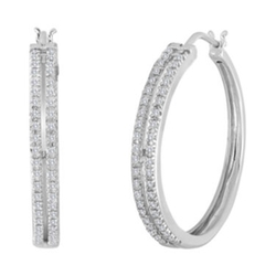 Jcpenney - Diamond Sterling Silver Hoop Earrings
