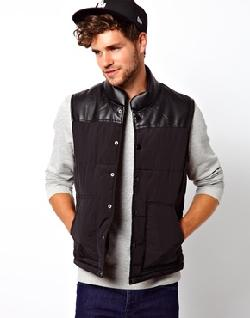 ASOS  - Quilted Vest With Leather Look Yoke