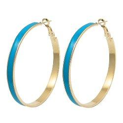 Rosallini - Gold Tone Hoop Earrings