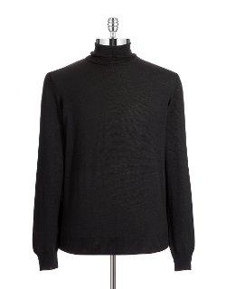 Black Brown 1826 - Slim Fit Italian Merino Wool Turtleneck Sweater