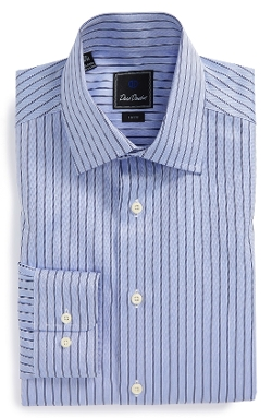 David Donahue - Trim Fit Stripe Dress Shirt