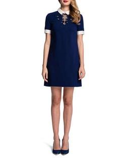 Cynthia Steffe - Short-Sleeve Embroidered-Yoke Shift Dress