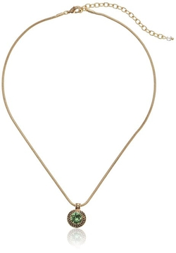 Napier  - Gold-Tone Green Swarovski Stone Pendant Necklace