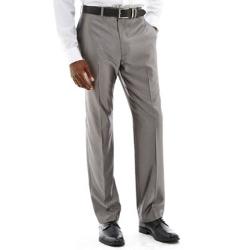 Claiborne - Shimmer Herringbone Flat-Front Suit Pants