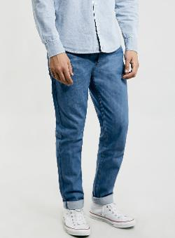 Topman - Sky Blue Selvedge Vintage Skinny Jeans