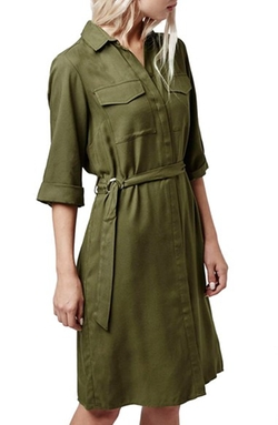 Sandra  - Sleeveless Tie Waist Shirtdress