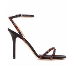Valentino - Feather-Embellished Satin Sandals