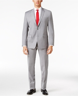 Michael Michael Kors - Light Gray Sharkskin Peak Lapel Suit