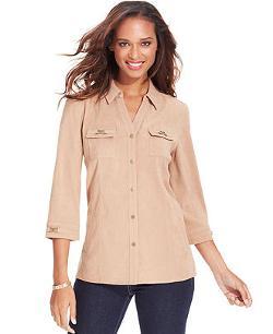 JM Collection  - Petite Faux-Suede Button-Front Shirt
