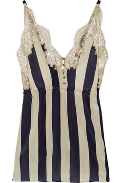 Rosamosario - Striped Lace-Trimmed Silk-Georgette Camisole