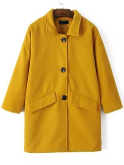 ROMWE - Lapel Single Breasted Woolen  Coat