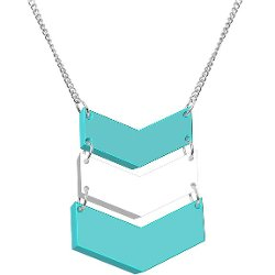 Body Candy  - Turquoise Acrylic Chevrons Necklace