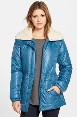 Kenneth Cole New York - Faux Shearling Trim Puffer Coat