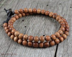 Sol Creations - Mens Wood Beaded Prayer Bracelet Mala Beads