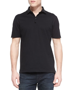 Lanvin	  - Grosgrain-Collar Short-Sleeve Polo Shirt